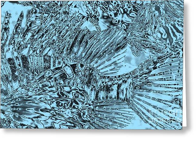 Blue Abstract - Lionfish Greeting Card