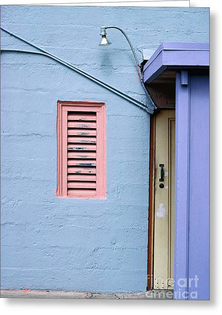 blue abstract building photography - The Blue Wall Greeting Card