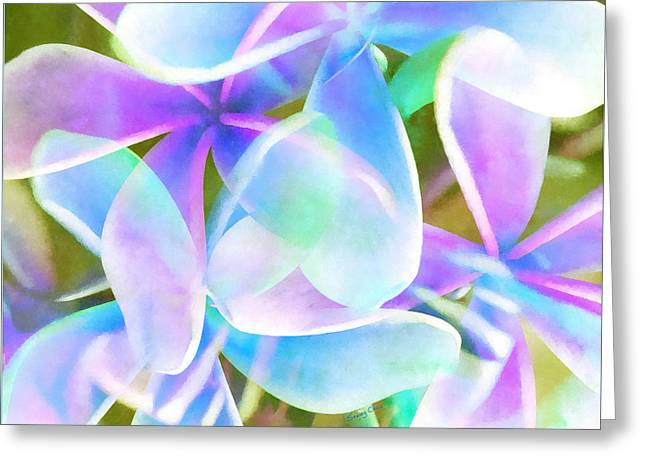 Blue Abstract Floral  Greeting Card