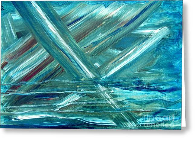 Blue Abstract Greeting Card by Nancy Rucker