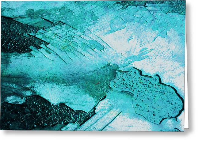 Blue Abstract Of Peeling Off The Old Greeting Card by Beverly Guilliams