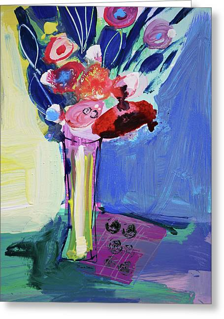 Blue Abstract Still Life With Red Flowers Greeting Card by Amara Dacer