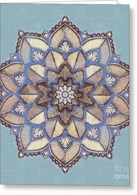 Blue And White Mandala Greeting Card