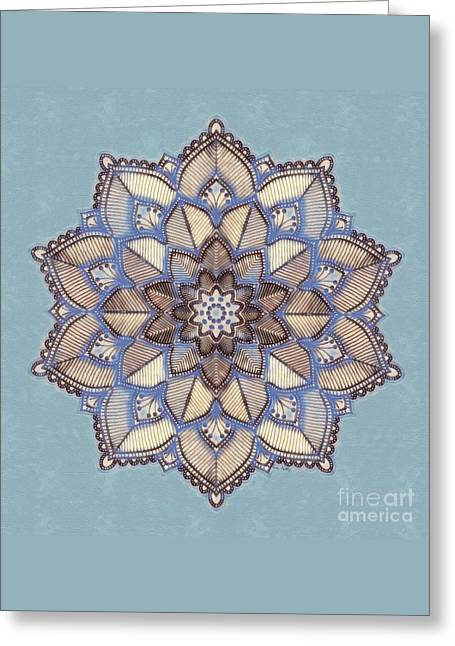 Blue And White Mandala Greeting Card