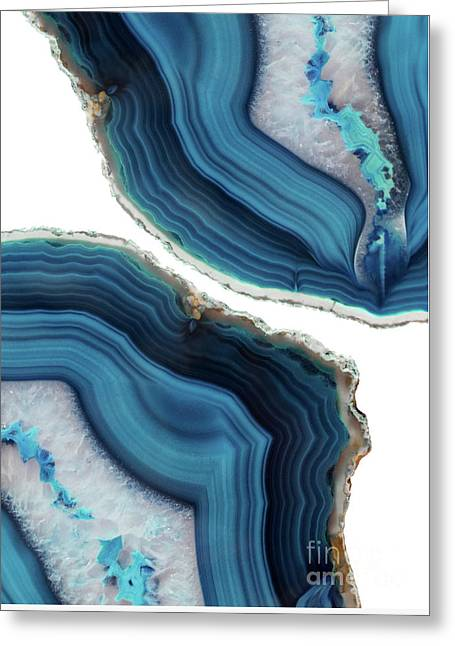 Blue Agate Greeting Card by Emanuela Carratoni