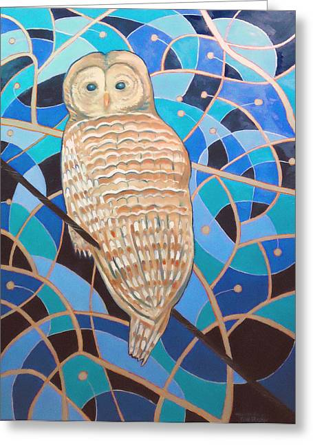 Blue Al Whimsical Owl Painting Greeting Card by Scott Plaster