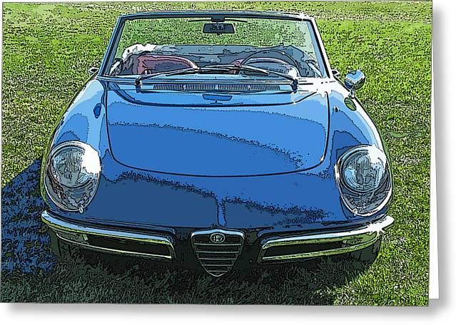 Blue Alfa Romeo Spyder Greeting Card by Samuel Sheats