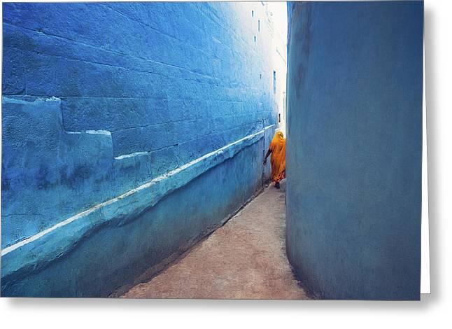 Blue Alleyway Greeting Card by Marji Lang