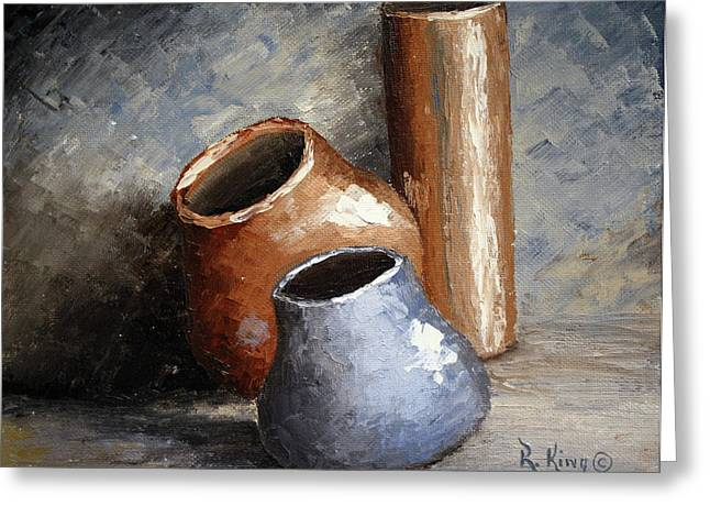 Blue And Brown Pots Greeting Card by Roena King