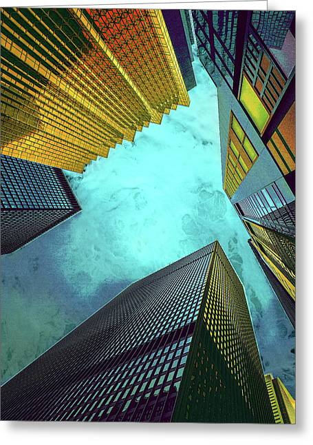 Blue And Gold Skyscrapers Under The Sea Greeting Card by Elaine Plesser