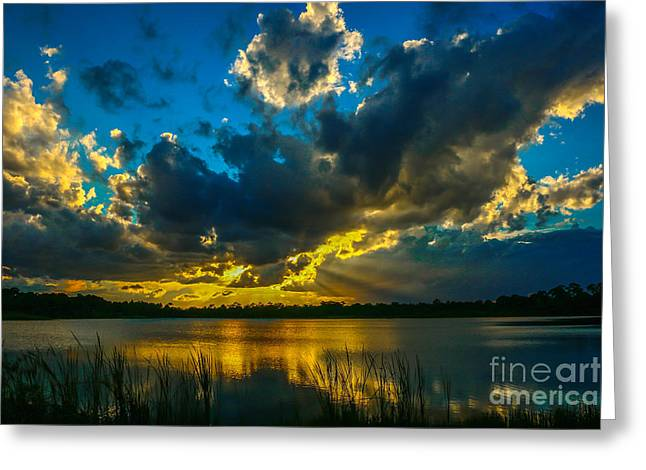 Blue And Gold Sunset With Rays Greeting Card by Tom Claud
