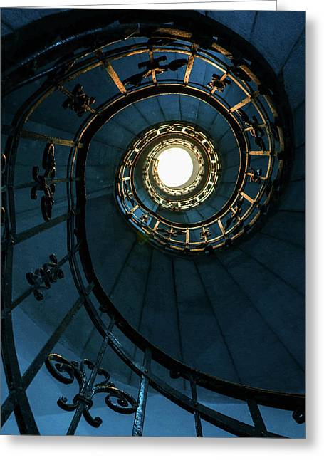 Greeting Card featuring the photograph Blue And Golden Spiral Staircase by Jaroslaw Blaminsky