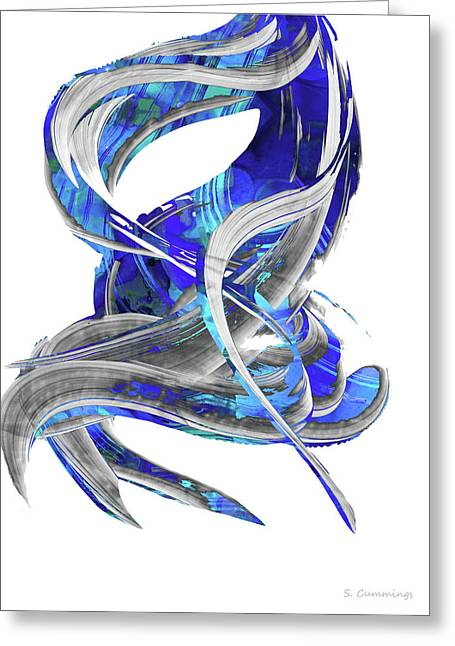 Blue And Gray Art - Flowing 3 - Sharon Cummings Greeting Card