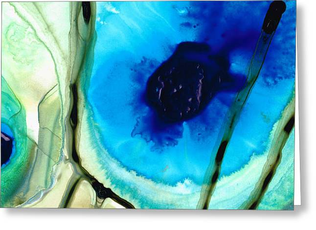 Blue And Green Art - Pools - Sharon Cummings Greeting Card