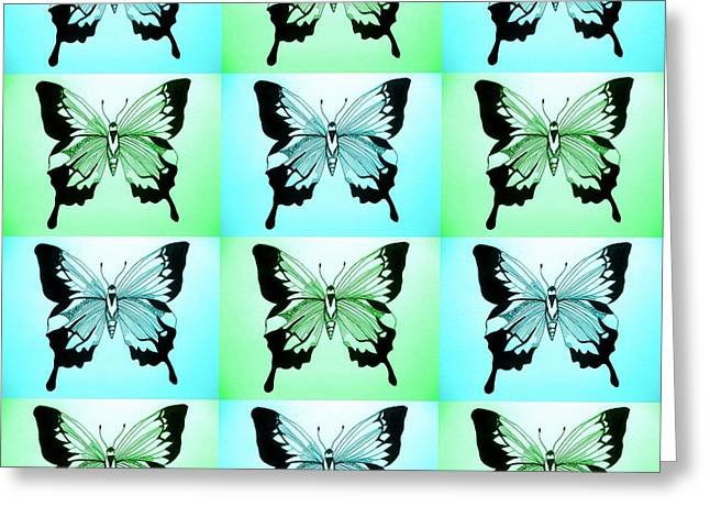 Blue And Green Greeting Card by Cathy Jacobs