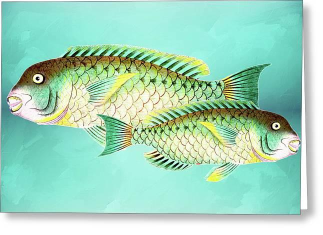 Blue And Green Fish Wall Art Greeting Card by Georgiana Romanovna
