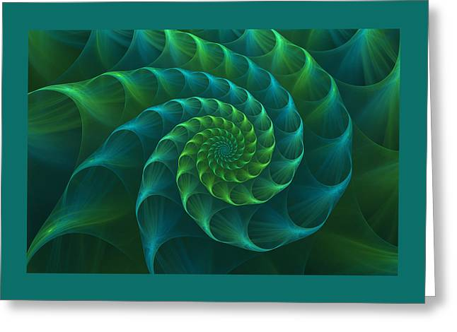 Blue And Green Nautilus Shell Greeting Card by Anna Bliokh