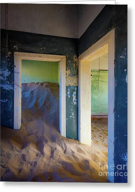 Blue And Green Rooms Greeting Card by Inge Johnsson