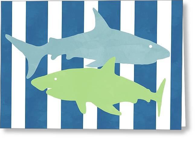 Blue And Green Sharks- Art By Linda Woods Greeting Card