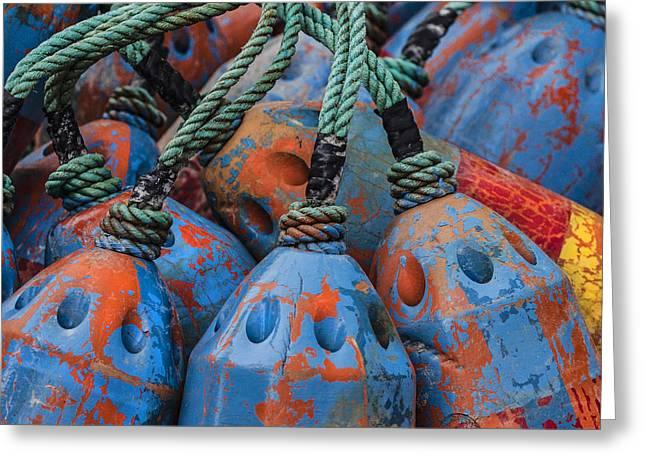 Blue And Orange Fishing Buoys Greeting Card