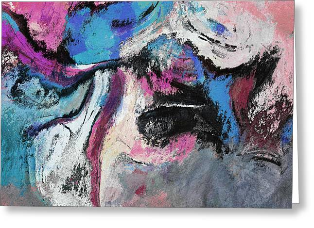 Greeting Card featuring the painting Blue And Pink Abstract Painting by Ayse Deniz