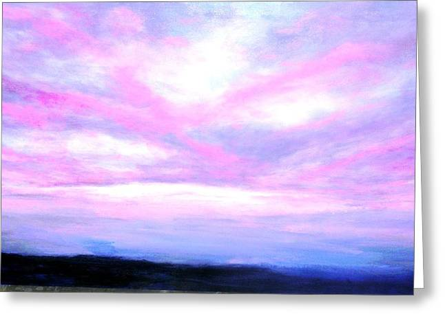 Blue And Pink Sky Greeting Card