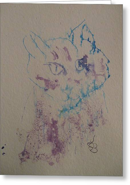 Greeting Card featuring the drawing Blue And Purple Cat by AJ Brown