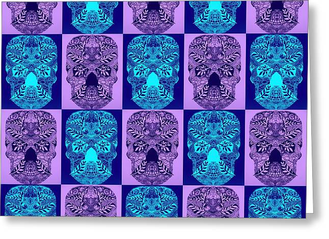 Blue And Purple Skulls Greeting Card by Cathy Jacobs
