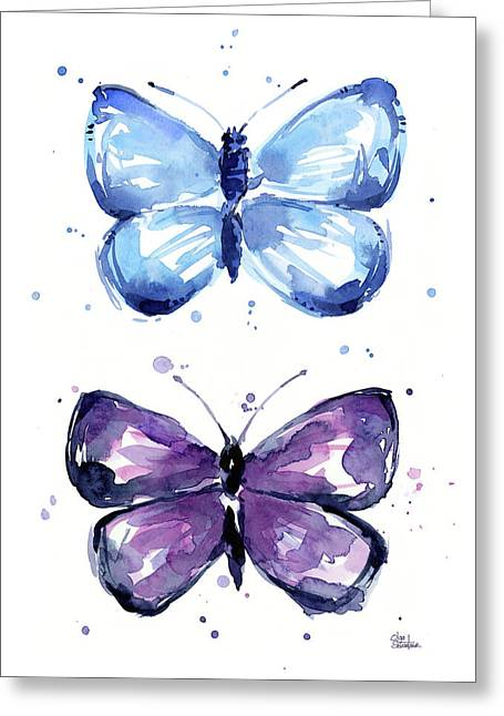 Blue And Purple Watercolor Butterflies Greeting Card