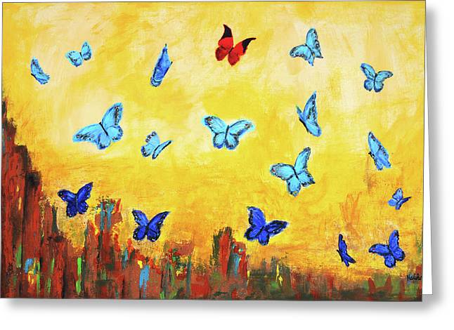 Blue And Red Butterflies Greeting Card