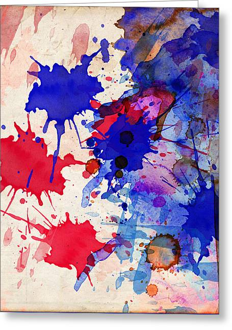 Blue And Red Color Splash Greeting Card