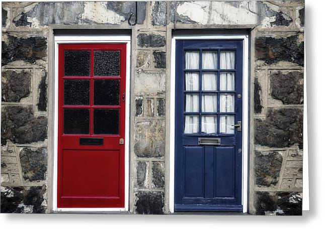 Blue And Red Doors Greeting Card by Joana Kruse