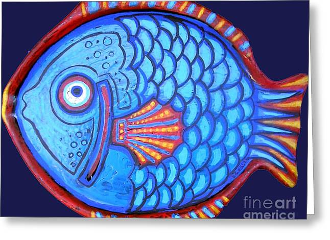 Blue And Red Fish Greeting Card by Genevieve Esson