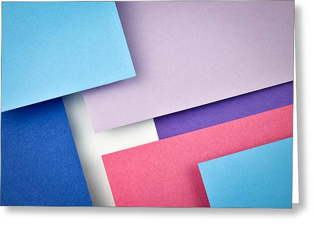 Blue And Red Paper Slanting Over Each Other Greeting Card by Jozef Jankola
