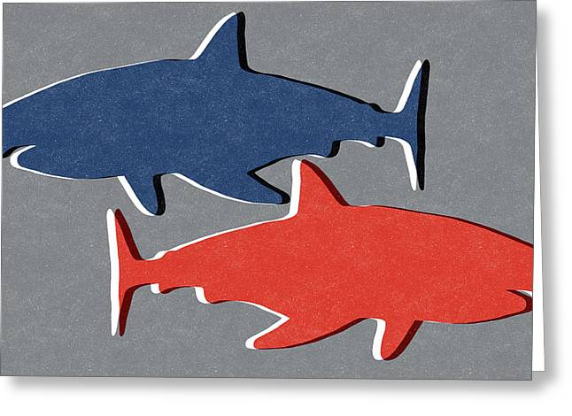 Blue And Red Sharks Greeting Card by Linda Woods
