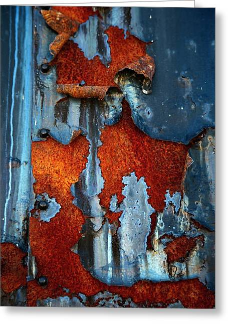 Blue And Rust Greeting Card by Karol Livote