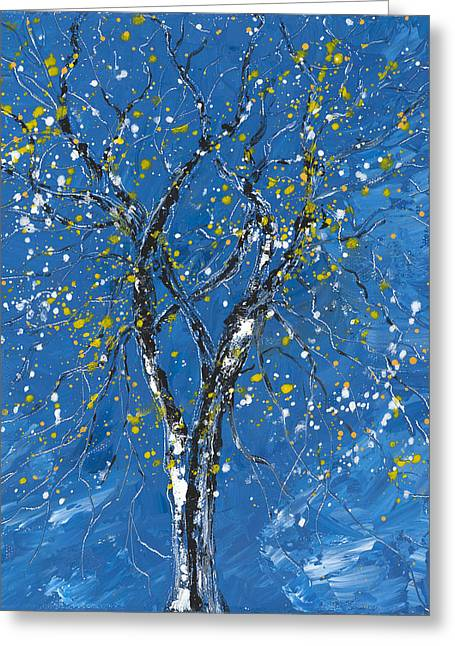 Blue And The Tree Greeting Card