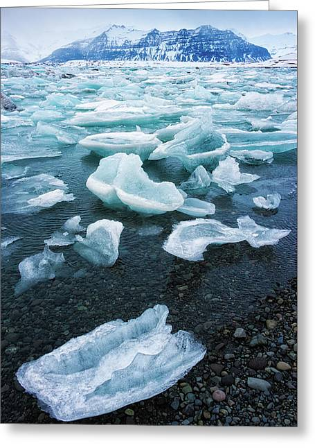 Greeting Card featuring the photograph Blue And Turquoise Ice Jokulsarlon Glacier Lagoon Iceland by Matthias Hauser