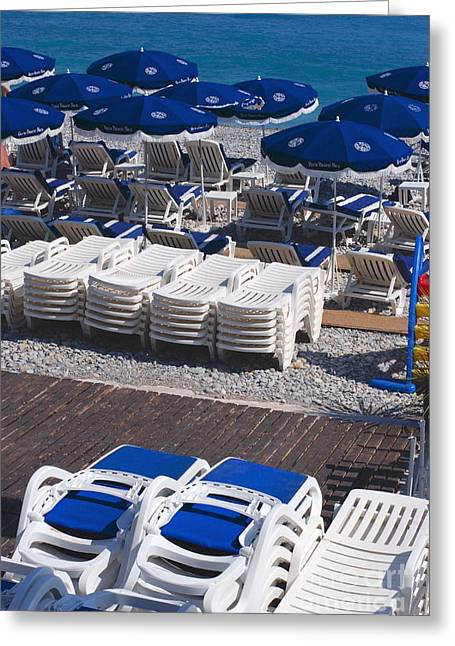 Blue And White Greeting Card by Andrea Simon