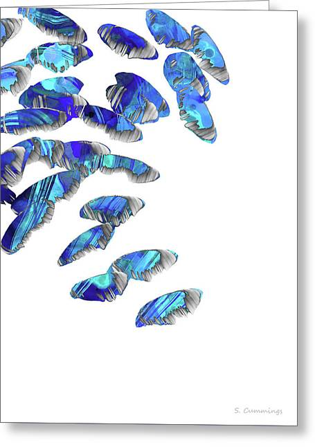Blue And White Art - Falling 2 - Sharon Cummings Greeting Card