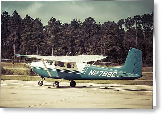 Blue And White Cessna Greeting Card by Debra Forand