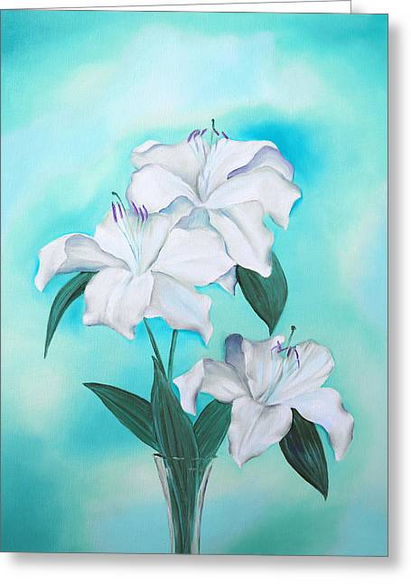 Greeting Card featuring the mixed media Blue And White by Elizabeth Lock