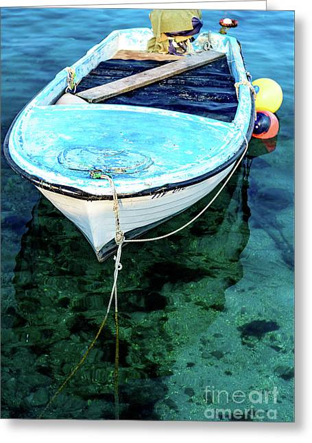 Blue And White Fishing Boat On The Adriatic - Rovinj, Croatia Greeting Card
