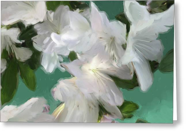 Blue And White Flower Art 3 Greeting Card