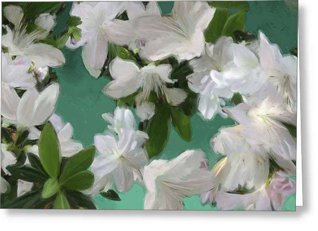 Blue And White Flower Art  Greeting Card