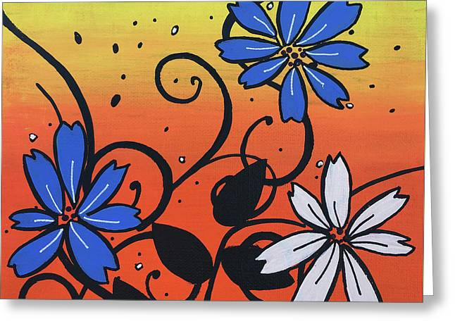 Blue And White Flowers Greeting Card