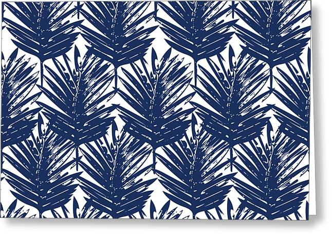 Blue And White  Palm Leaves 3 - Art By Linda Woods Greeting Card