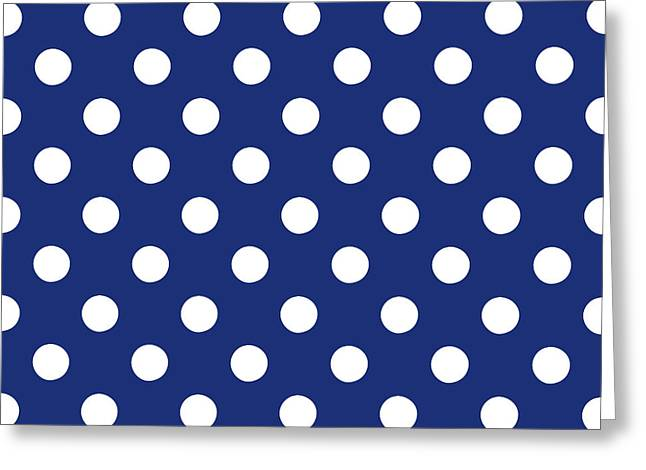 Blue And White Polka Dots- Art By Linda Woods Greeting Card by Linda Woods