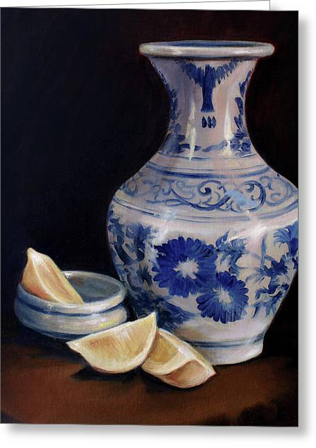 Blue And White Pottery With Lemons Greeting Card by Laura Ury