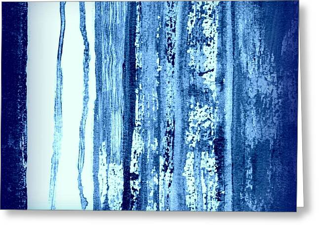 Blue And White Rainy Day Greeting Card